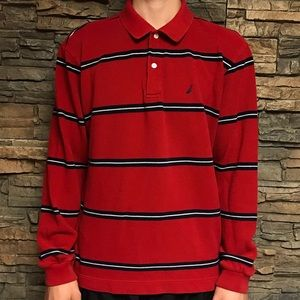 Nautical Long Sleeve Striped Polo Shirt Men's L